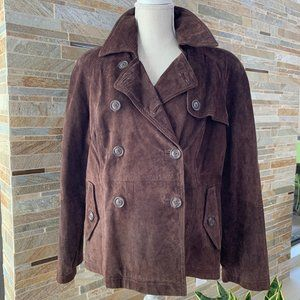 TERRY LEWIS DOUBLE BREASTED BROWN SUEDE JACKET - L